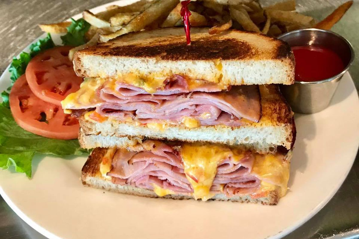 The ham and pimento cheese sandwich from Blue Star Kitchen and Bar
