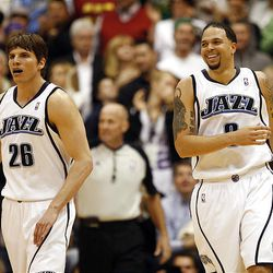 Utah's Deron Williams and Kyle Korver (left) as the Utah Jazz defeat the Denver Nuggets 105-93 as they play in game 3 of the first round of the NBA basketball playoffs.