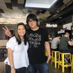 Ji Suk Yi with Ed Marszewski of Marz Brewing.   Brian Rich/ For the Sun-Times