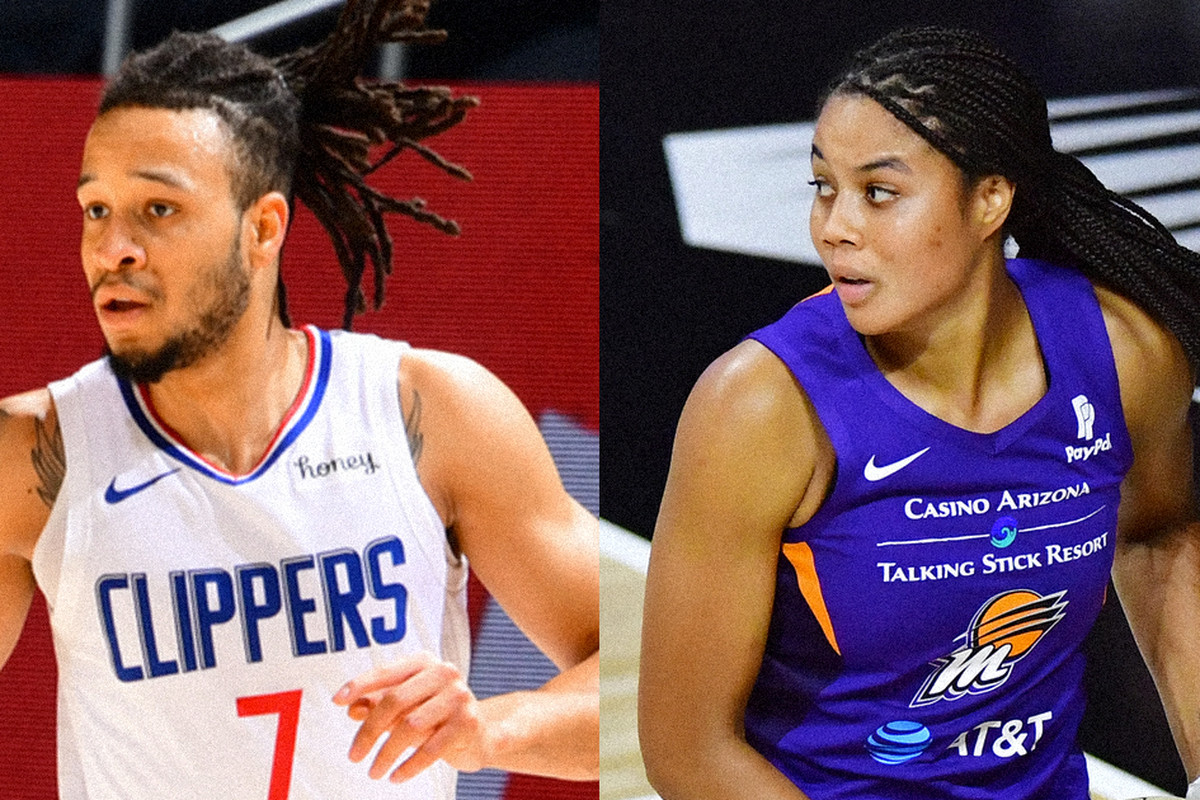 Amir Coffey of the LA Clippers (left) and his older sister Nia Coffey (right), newly signed by the Los Angeles Sparks