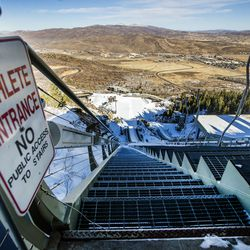 The stairs leading to the takeoff spots on the ski jump at the Utah Olympic Park near Park City are pictured on Monday, Nov. 30, 2020.