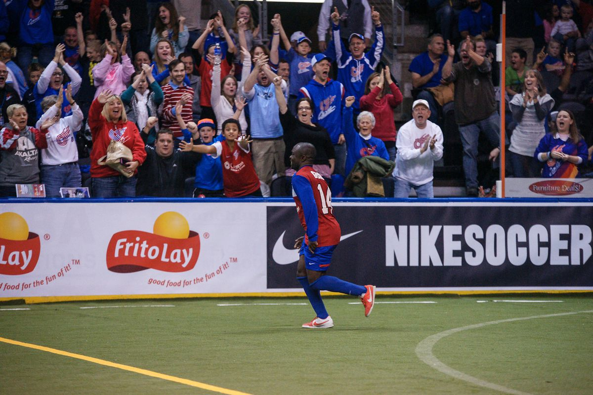 Missouri Comets celebrate another Leo Gibson goal