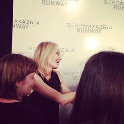 BCBG's Lubov Azria celebrating backstage.