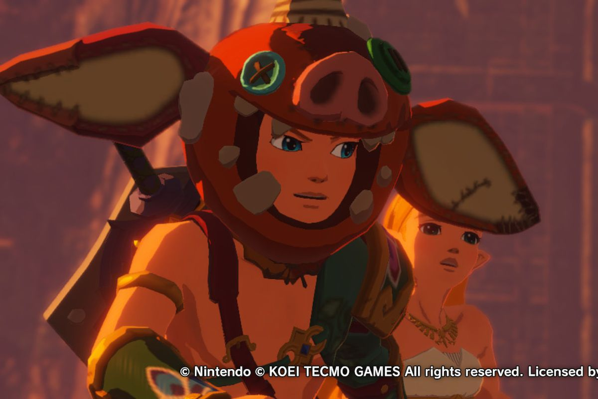 Link wearing a bokoblin head in Age of Calamity.