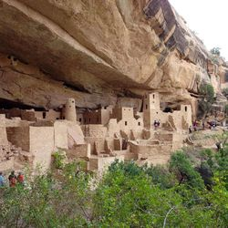 This August 2012 photo shows Cliff Palace at Mesa Verde National Park in southwestern Colorado. Ancestral Puebloans built vast cliff dwellings here starting about 1200 AD and then abandoned them 100 years later.