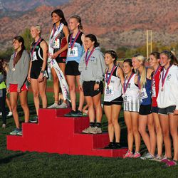 Individual winners in the 4A state girls high school cross-country championship pose for a photo in Cedar City on Wednesday, Oct. 21, 2020.