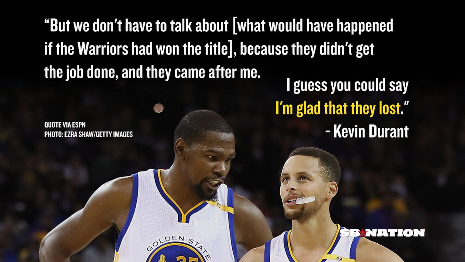 Kevin Durant says he's glad the Warriors blew a 3-1 lead ...