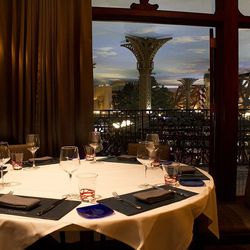 One of three private dining rooms at Gordon Ramsay Steak with a view of the casino floor.
