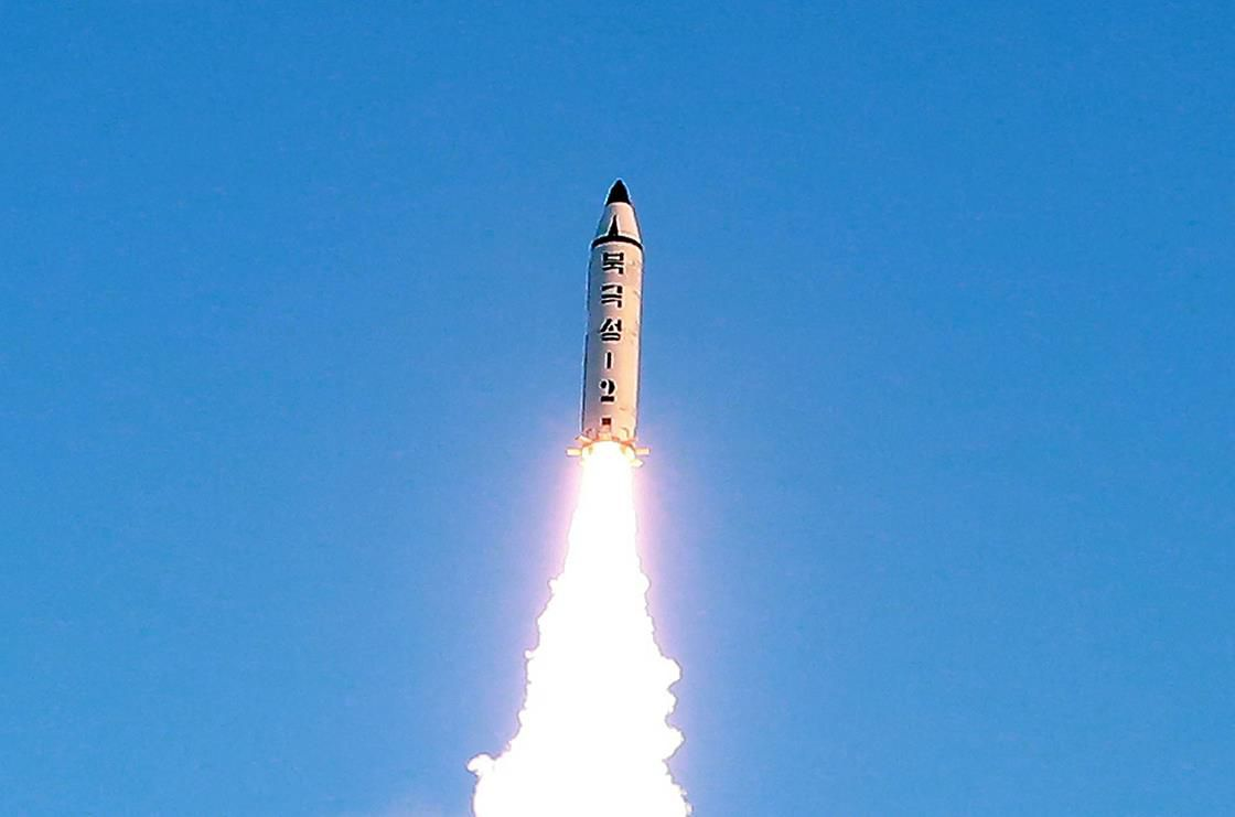 A North Korean government-released photo of the missile.