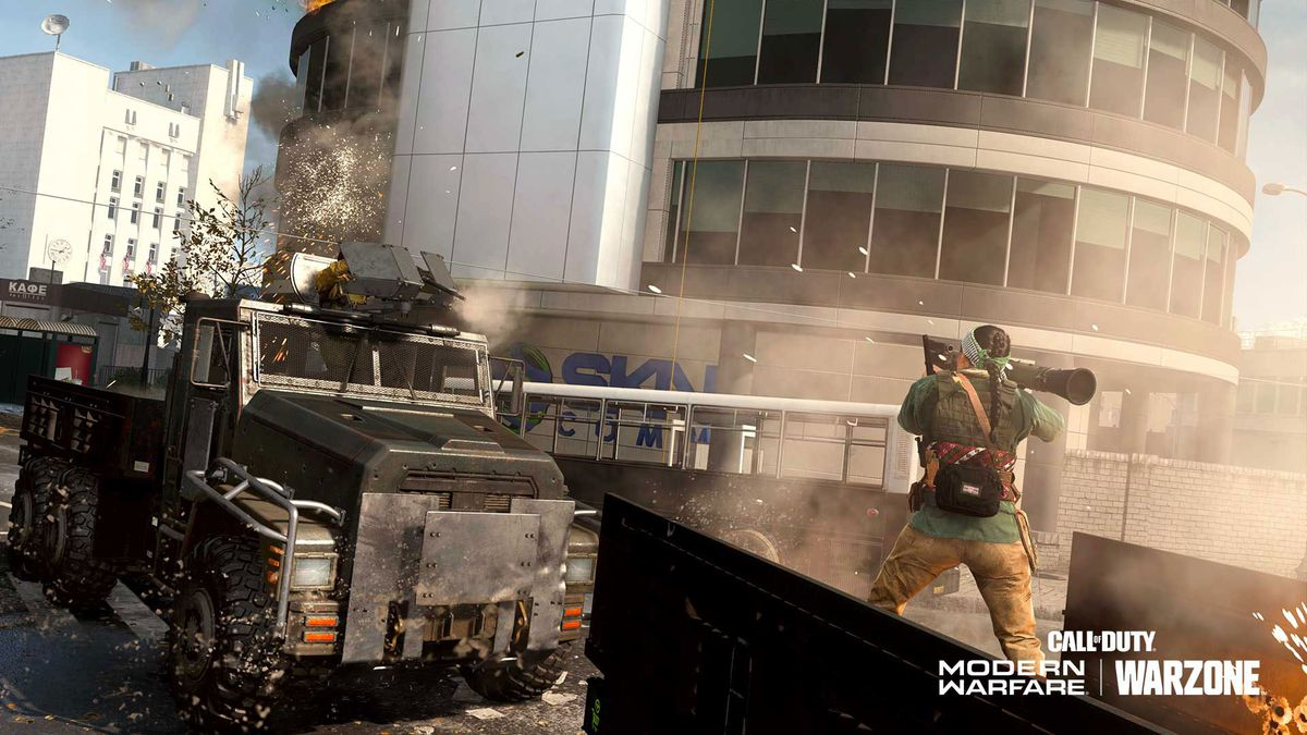 A player shoots a rocket an armored truck in Call of Duty: Warzone's Recon: Armored Royale mode