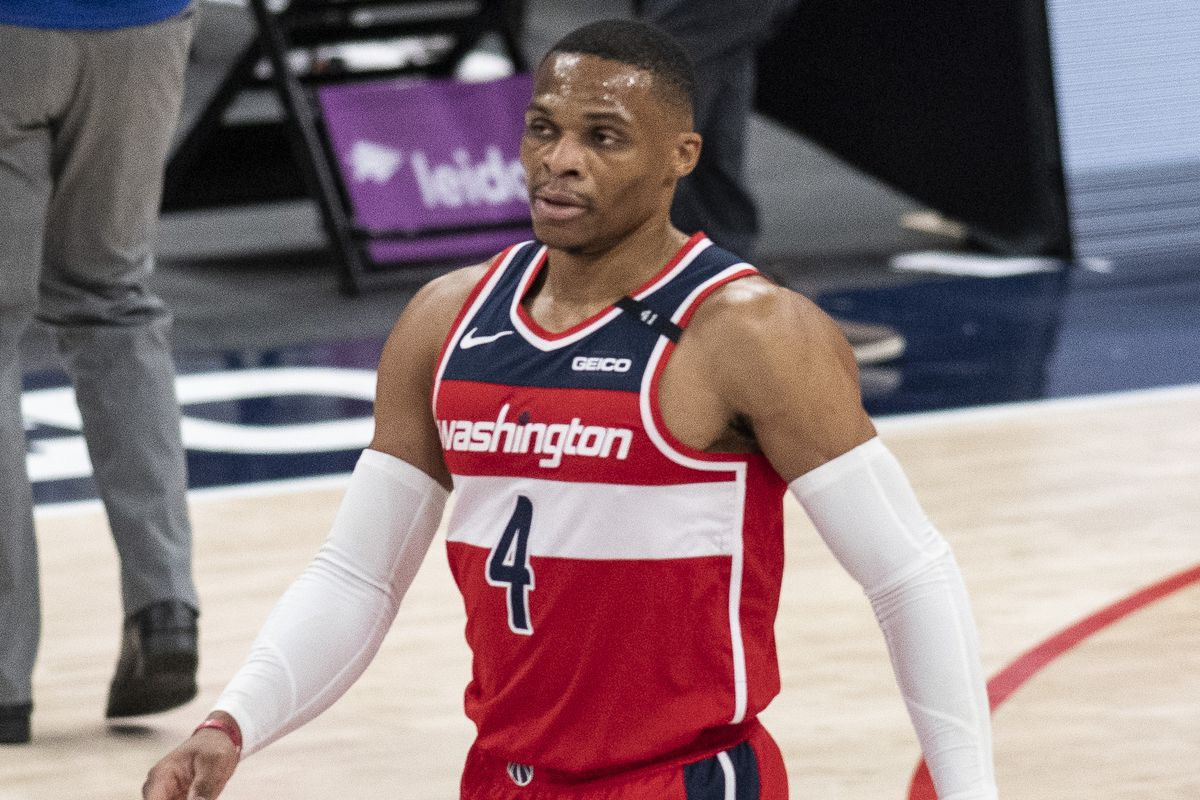 Washington Wizards guard Russell Westbrook during the first half against the Detroit Pistons at Capital One Arena.