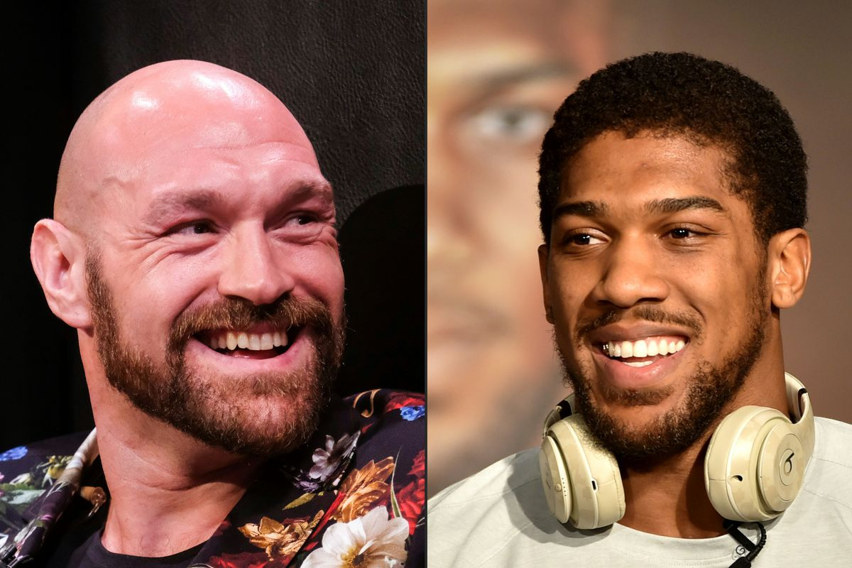 This combination of pictures created on December 14, 2020 shows Boxer Tyson Fury (L) during a press conference in Los Angeles, California on January 25, 2020, and British heavyweight boxer Anthony Joshua during a press conference in Ad Diriyah, a Unesco-listed heritage site, outside Riyadh, on December 4, 2019.