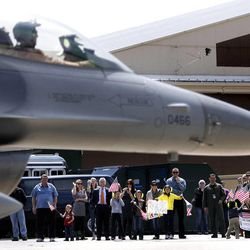 Several F-16 Fighting Falcons of the 388th Fighter Wing return to Hill Air Force Base in Layton after a nearly seven-month deployment to Bagram Airfield, Afghanistan, on Friday, April 15, 2011.