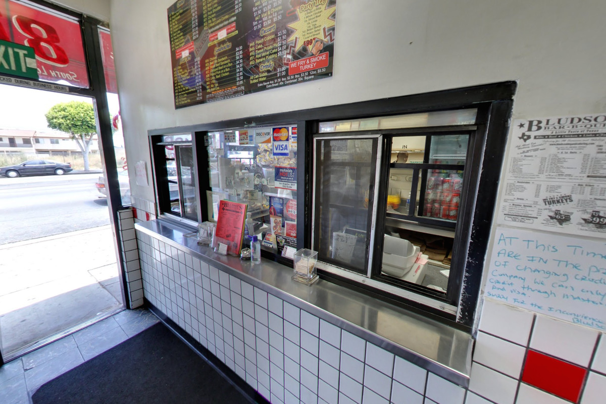 The ordering window at Bludso's BBQ in Compton