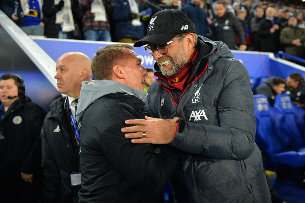 Manager of Liverpool Jurgen Klopp with Manager of Leicester City Brendan Rodgers before the Premier League match between Leicester City and Liverpool FC at King Power Stadium on December 26, 2019. The Reds became 0-4 winners on the day,