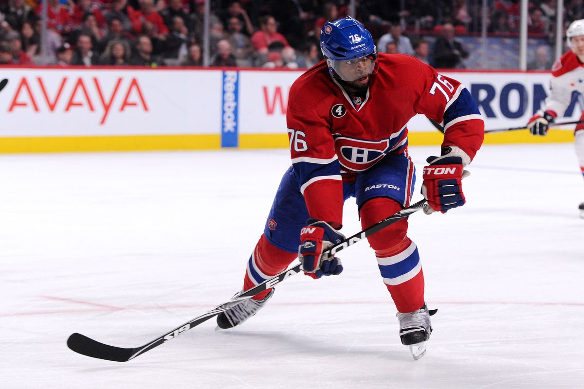 MONTREAL, QC - APRIL 2: P.K. Subban #76 of the Montreal Canadiens skates during the NHL game against the Washington Capitals at the Bell Centre on April 2, 2015 in Montreal, Quebec, Canada. (Photo by Richard Wolowicz/Getty Images)