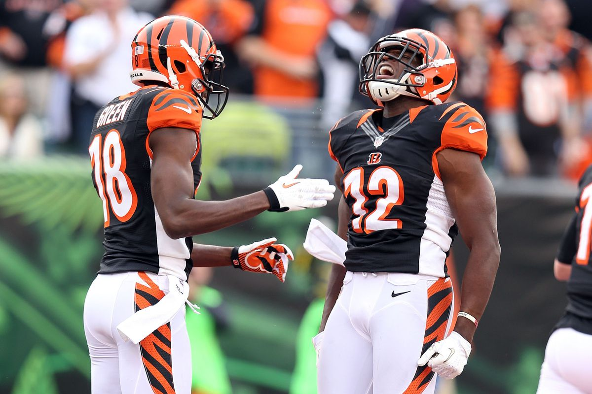 Mohamed Sanu (right) celebrates after catching a touchdown pass Sunday.