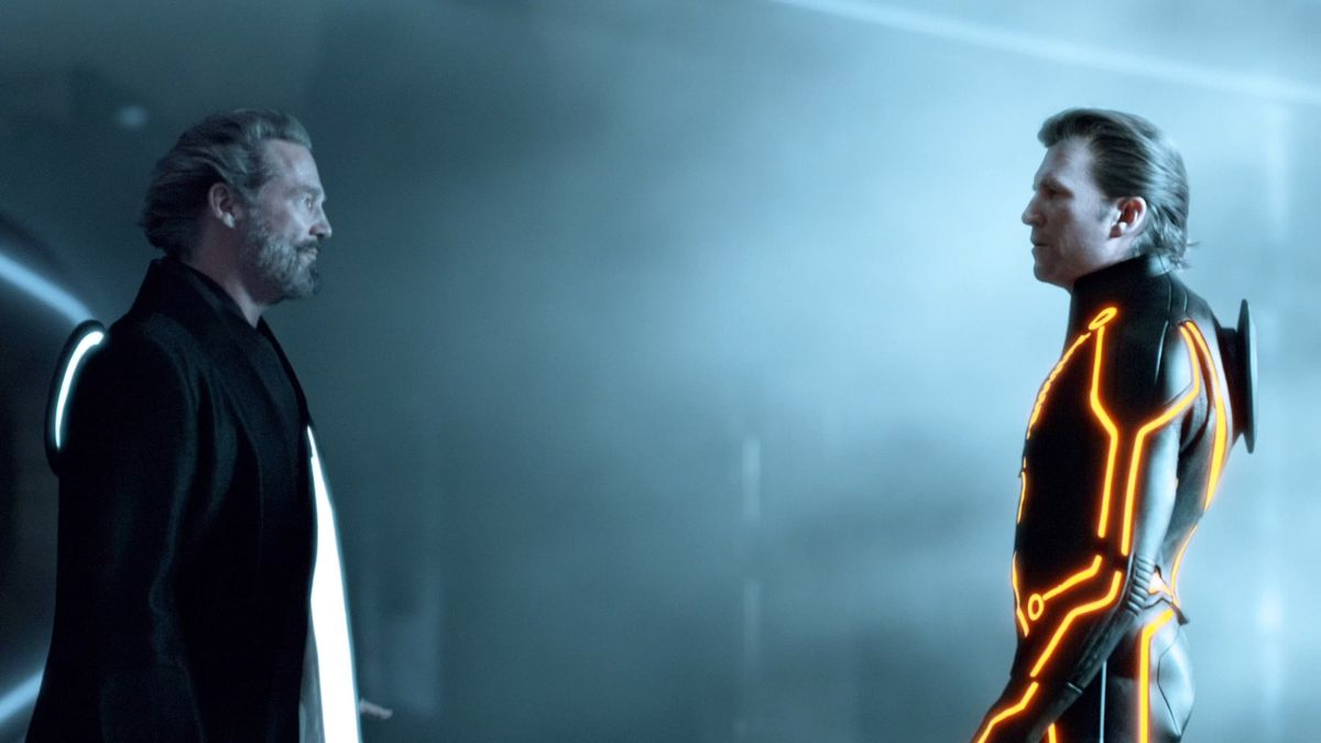 Jeff Bridges' Flynn confronts CLU at the real-world portal in Tron: Legacy