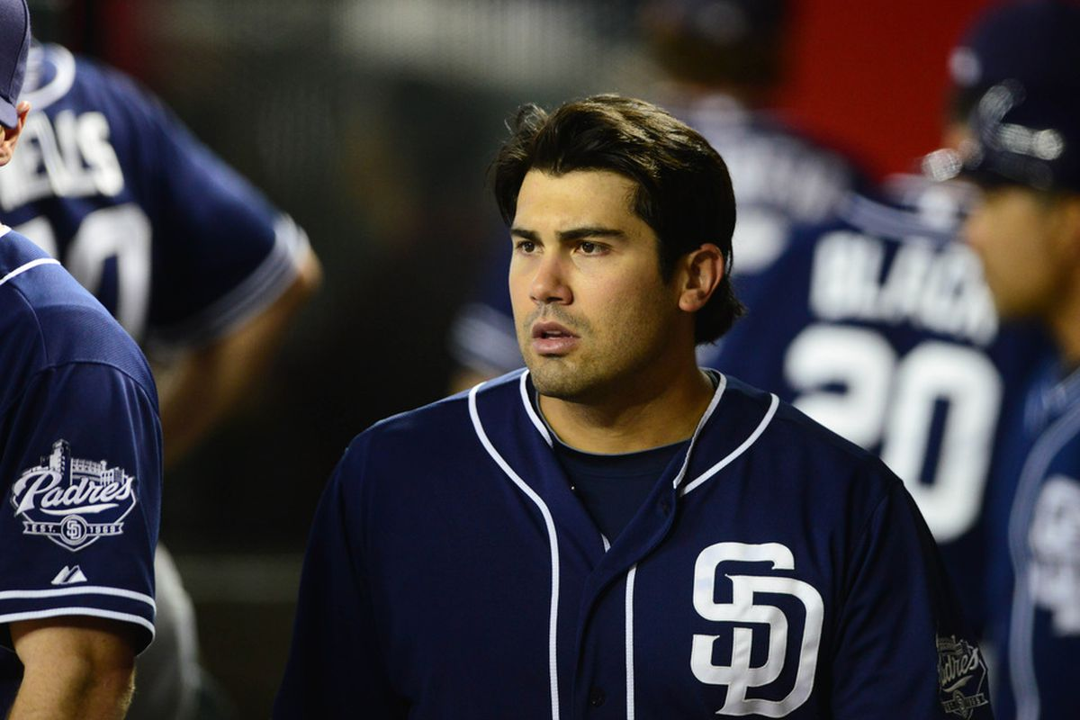Jul. 3, 2012; Phoenix, AZ, USA: San Diego Padres outfielder Carlos Quentin in the dugout in the third inning against the Arizona Diamondbacks at Chase Field. Mandatory Credit: Mark J. Rebilas-US PRESSWIRE