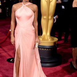 Jada Pinkett Smith in a blush pink Versace gown, which can be found at the Shops at Crystals.