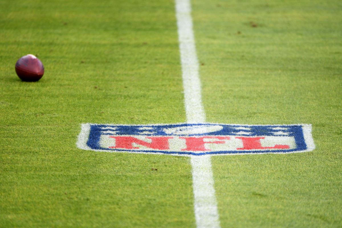 The NFL logo on the field prior to the game between the Baltimore Ravens and the Jacksonville Jaguars at M&T Bank Stadium on December 20, 2020 in Baltimore, Maryland.