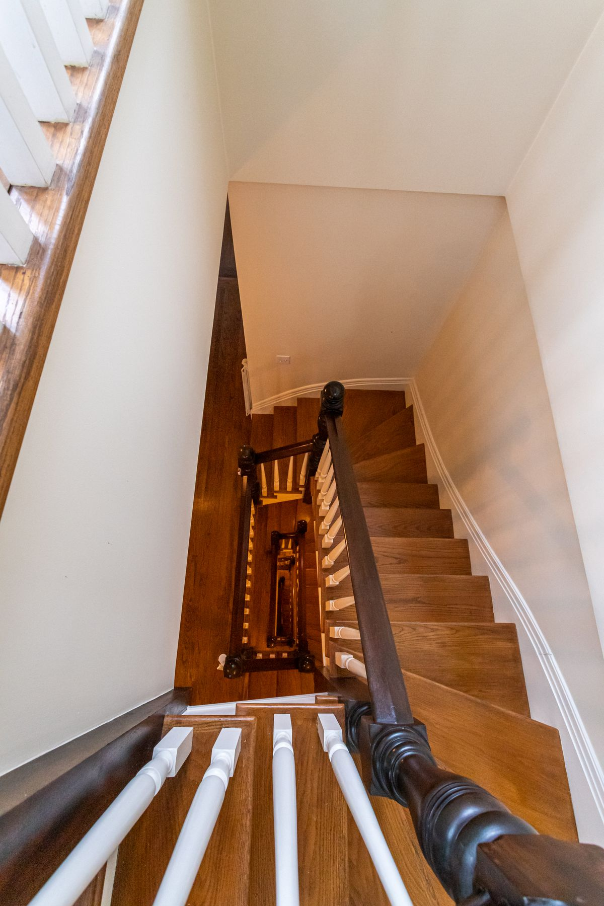 A turned oak staircase.