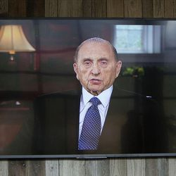 President Thomas S. Monson shares a message to attendees via video recording during the dedication of the Thomas S. Monson Lodge at the Hinckley Scout Ranch in the Uinta Mountains on Wednesday, Oct. 5, 2016. President Henry B. Eyring, first counselor in the First Presidency of the Church of Jesus Christ of Latter-day Saints, dedicated the building.
