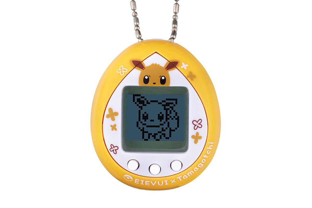 Product shot of the Eevee Tamagotchi toy