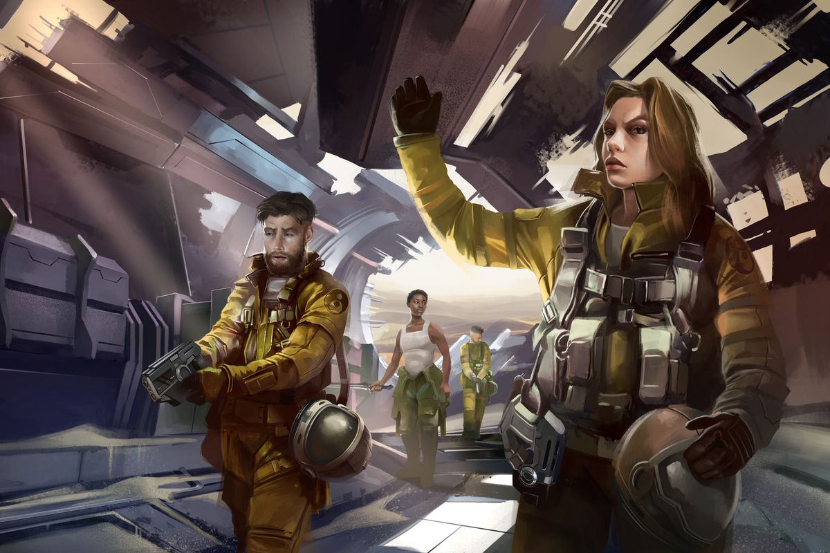 Key art from Homeworld: Revelations shows a crew making their way through a crashed ship derelict.
