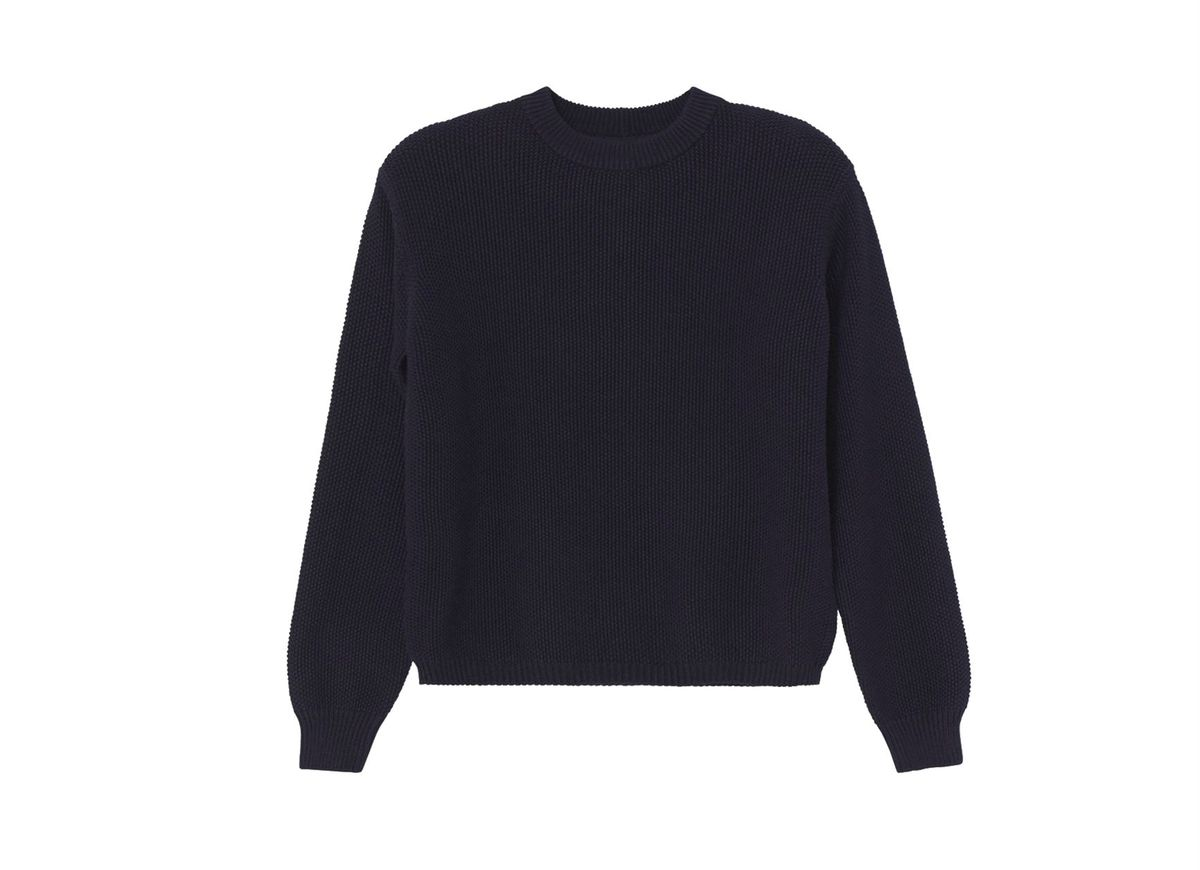 A chunky navy sweater