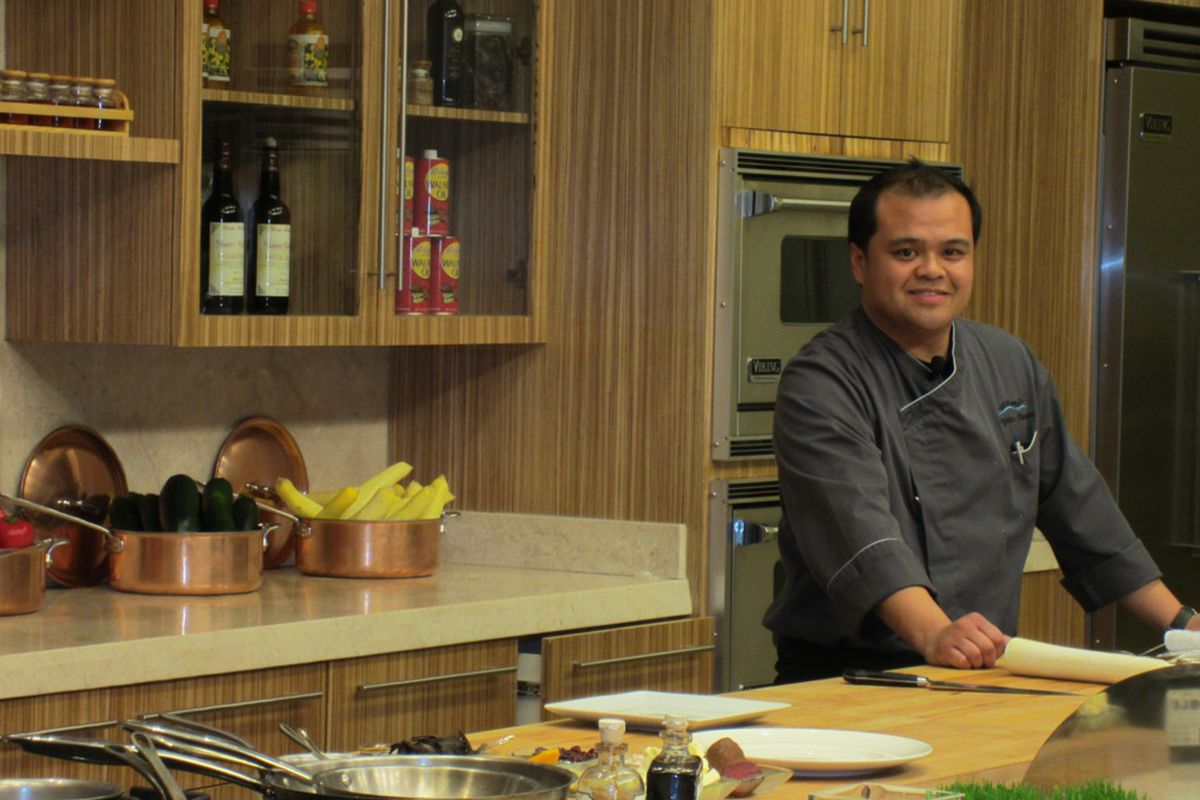 Royden Ellamar cooking in the Tuscany Kitchen.