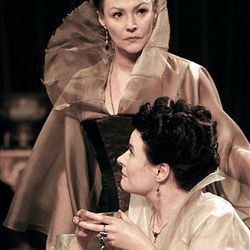 """Frances Barber, back, and Monica Dolan are sisters Goneril and Regan in a TV adaptation of the play """"King Lear."""""""