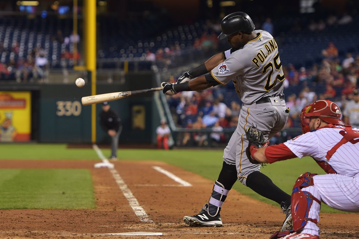 Gregory Polanco hits a double against the Phillies on September 15, 2016