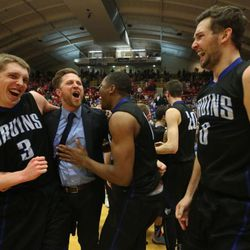 SLCC's Tyler Rawson and Gibson Johnson celebrate the victory.