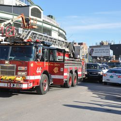 Fire truck on Clark. Note how narrow the street is -
