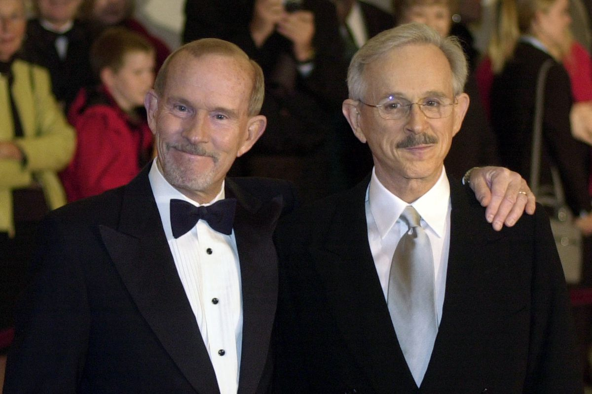 This 2002 file photo shows The Smothers Brothers, Tom Smothers (left) and Dick Smothers at the Kennedy Center in Washington, D.C.