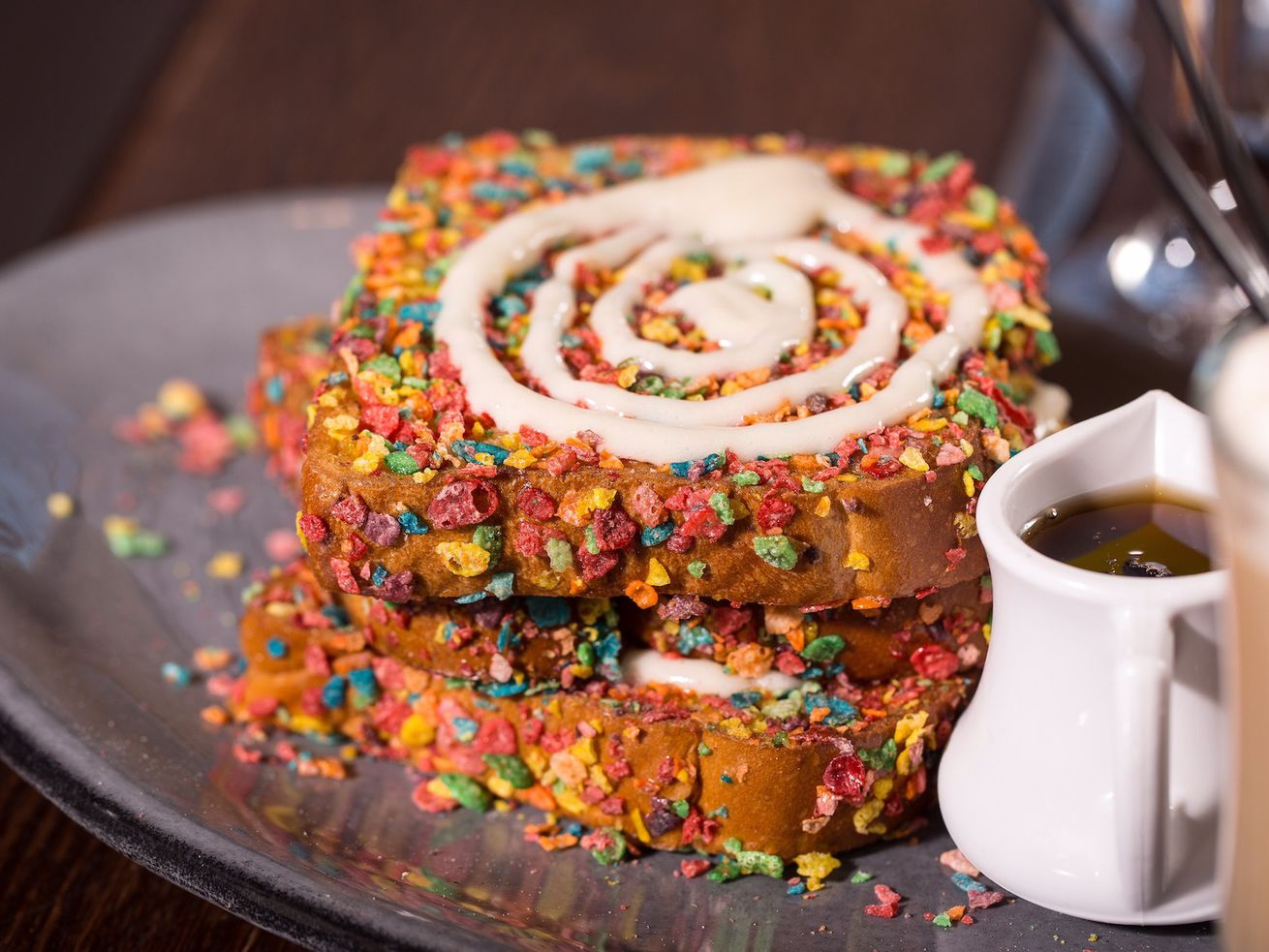 French toast with Fruity Pebbles