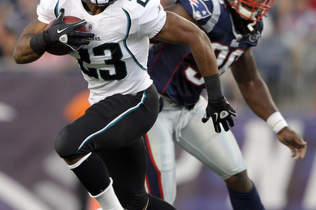 FOXBORO, MA - AUGUST 11:  Rashad Jennings #23 of the Jacksonville Jaguars carries the ball as James Sanders #36 of the New England Patriots defends on August 11, 2011 at Gillette Stadium in Foxboro, Massachusetts.  (Photo by Elsa/Getty Images)