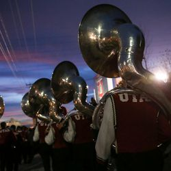 The Utah marching band arrives before the game between the Utah Utes and Colorado Buffaloes at Rice-Eccles Stadium in Salt Lake City on Saturday, Nov. 25, 2017.