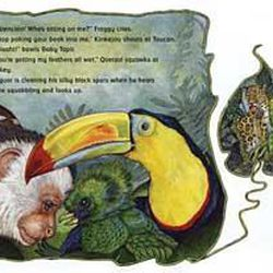 """Illustrations in Brett's new book, """"The Umbrella,"""" show creatures from the rain forest."""