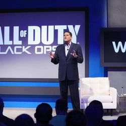 """Reggie Fils-Aime, president and chief operating officer of Nintendo of America, announces that """"Call of Duty Black Ops II"""" will be available for the upcoming Wii U gaming console, Thursday, Sept. 13, 2012 in New York. The gaming console will start at $300 and go on sale in the U.S. on Nov. 18, in time for the holidays, the company said Thursday."""
