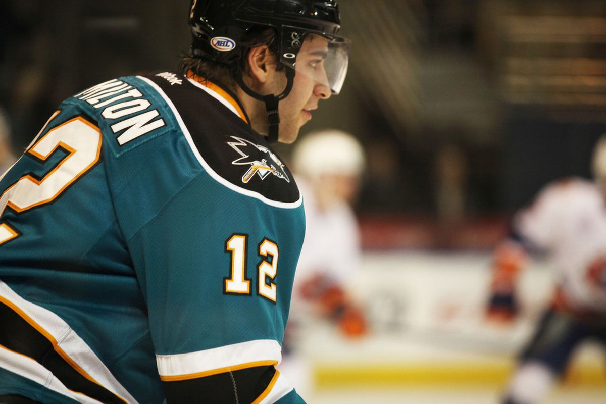 Worcester Sharks forward Freddie Hamilton scored his team leading 16th goal of the season in the first period Saturday night to give the Sharks their first lead in 425:38 of hockey time.