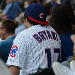 1:22 p.m. Kris Bryant jersey in the stands -