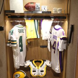 Brett Favre's locker at the Pro Football Hall of Fame in Canton, OH
