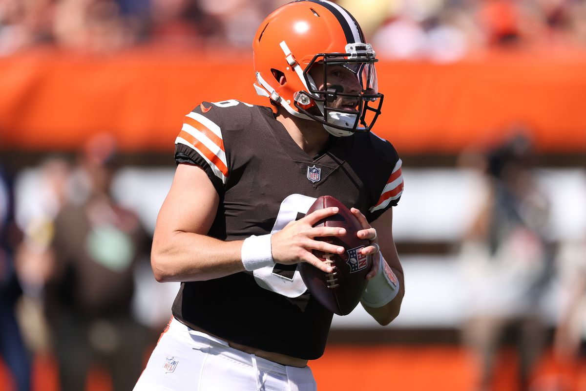 Baker Mayfield #6 of the Cleveland Browns plays against the Houston Texans at FirstEnergy Stadium on September 19, 2021 in Cleveland, Ohio. Cleveland won the game 31-21.