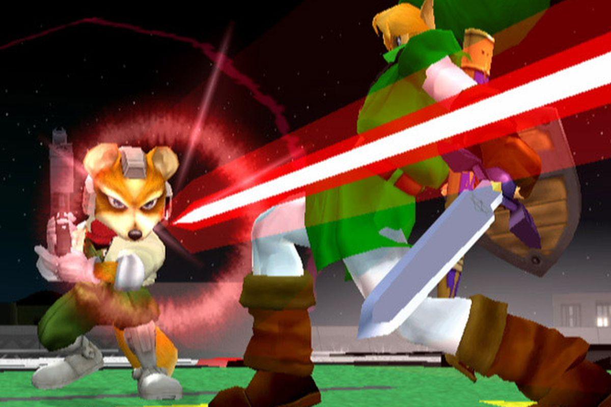 Super Smash Bros. Melee - Link dodging Fox's blaster