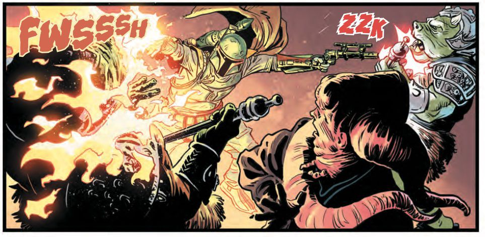 Boba Fett unloads on guards at Jabba's palace in Star Wars: War of the Bounty Hunters #1, (2021).