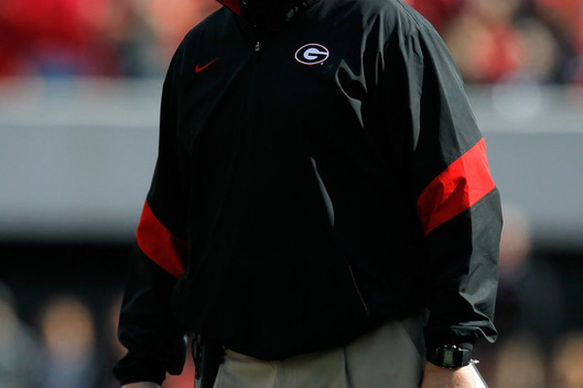ATHENS, GA - NOVEMBER 19:  Head coach Mark Richt of the Georgia Bulldogs waits for a call by the officials during the game against the Kentucky Wildcats at Sanford Stadium on November 19, 2011 in Athens, Georgia.  (Photo by Kevin C. Cox/Getty Images)
