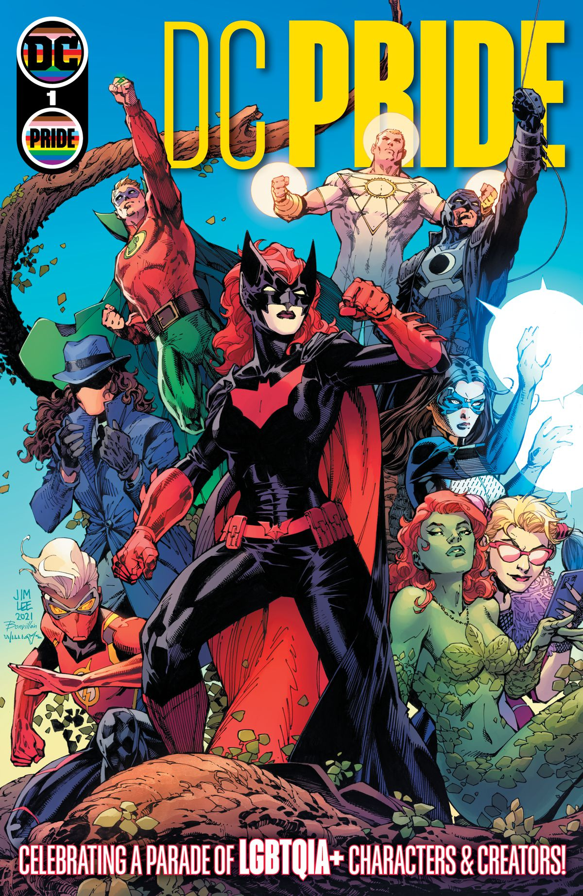 Batwoman is flanked by other queer and trans superheroes in the DC Universe on the cover of DC Pride, DC Comics (2021).