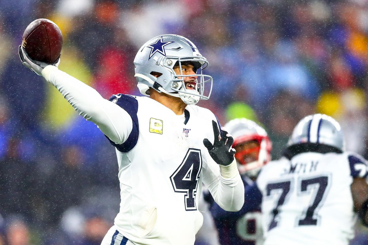 Dak Prescott #4 of the Dallas Cowboys throws the ball during a game against the New England Patriots at Gillette Stadium on November 24, 2019 in Foxborough, Massachusetts.
